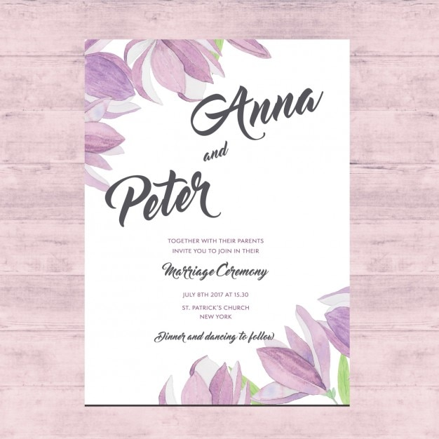 Floral Wedding Card Design Free Vector