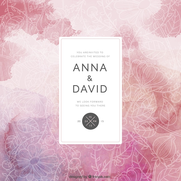 Floral Wedding Card In Abstract Style Vector