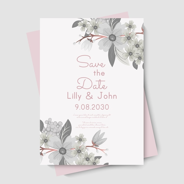 花のウェディングカードの招待状。 無料ベクター