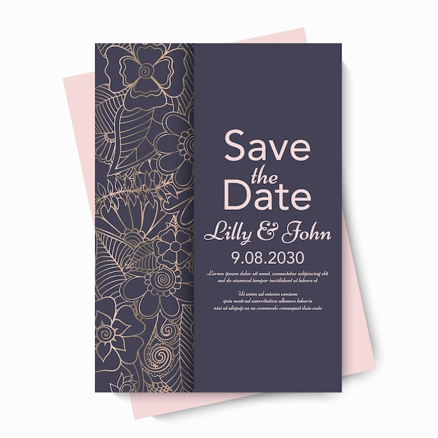 꽃 웨딩 카드 초대장입니다. 무료 벡터