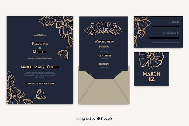 Floral wedding card invitation Free Vector