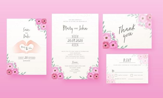 Цветочная свадебная открытка, как сохранить дату, место, спасибо и rsvp. Premium векторы