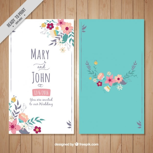 Floral wedding card on a turquoise background Vector Free Download