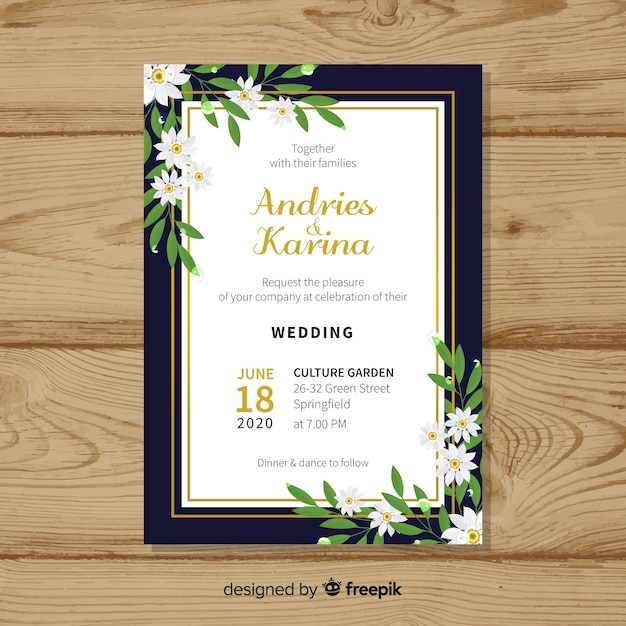 Floral wedding card template with golden frame Free Vector