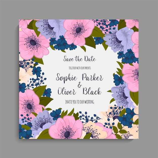 Floral wedding card template with purple flower Free Vector