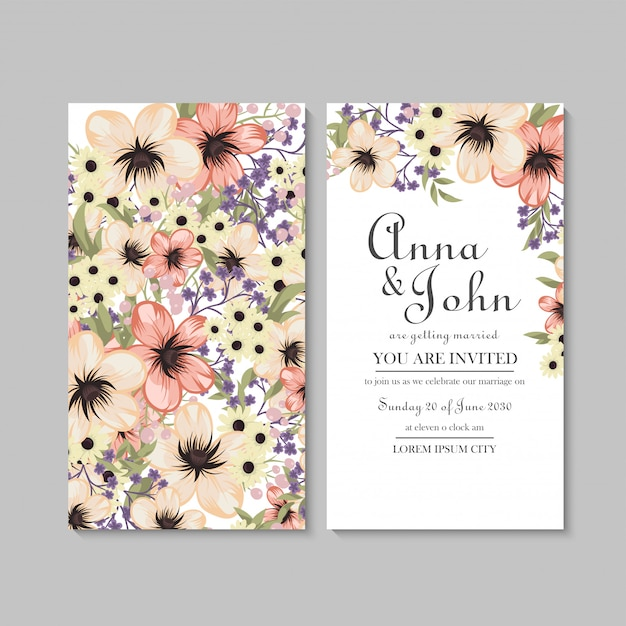 Floral wedding card template with yellow pattern Free Vector