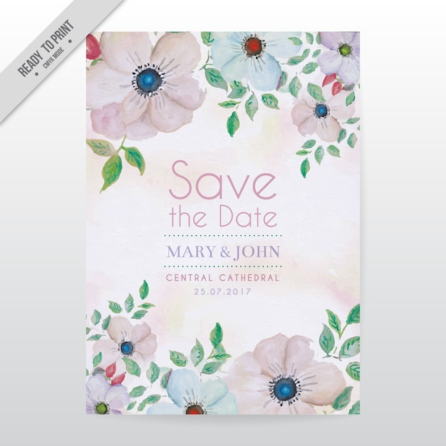 Floral Wedding Card Template Vector  Free Download