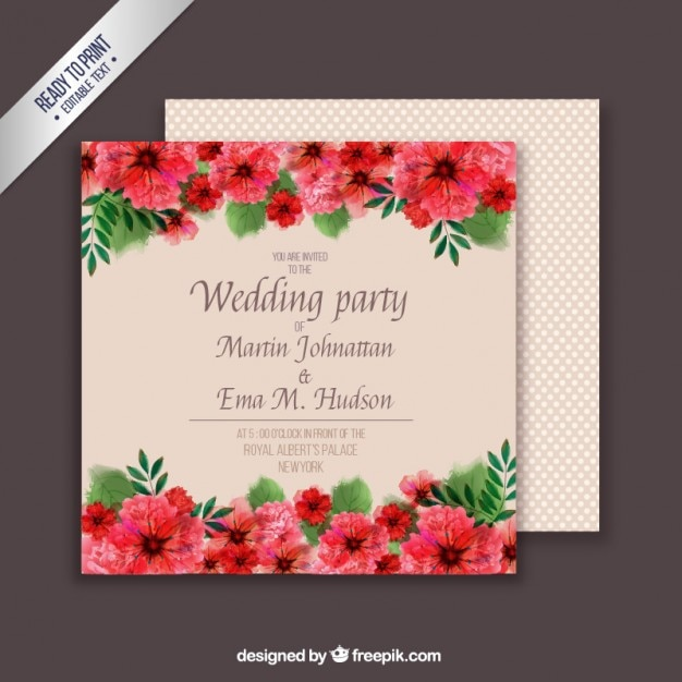 Floral Wedding Card Template Vector | Free Download