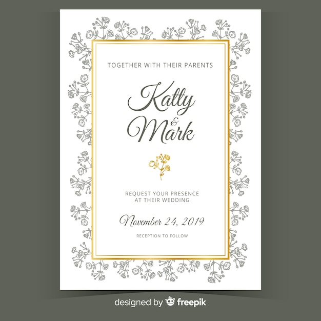 Floral wedding card template Free Vector