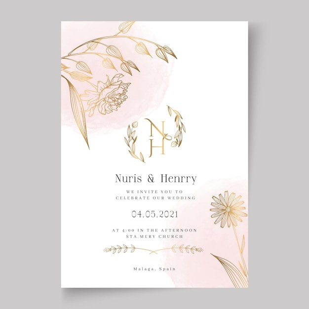 花のウェディングカードテンプレート 無料ベクター