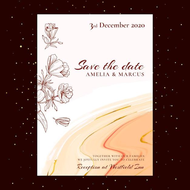 Tema floreale della carta di nozze Vettore gratuito