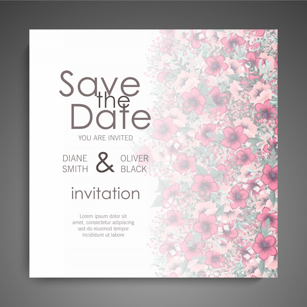 Floral wedding card with colorful flower Free Vector