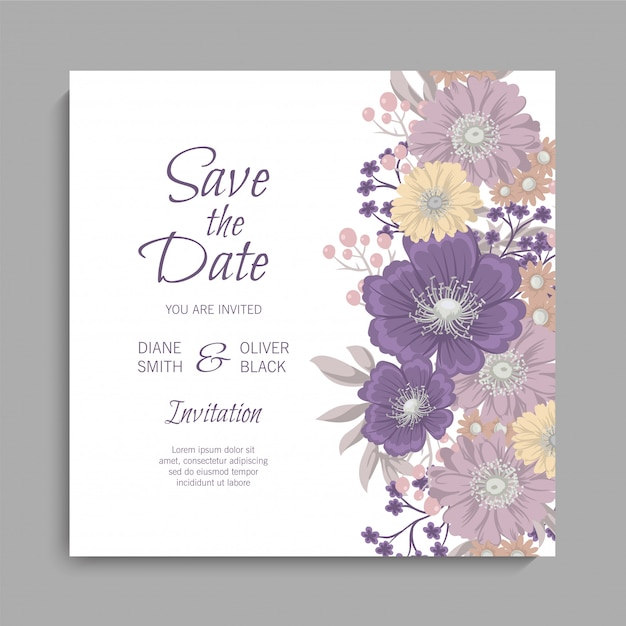 Floral wedding card with purple flowers Free Vector