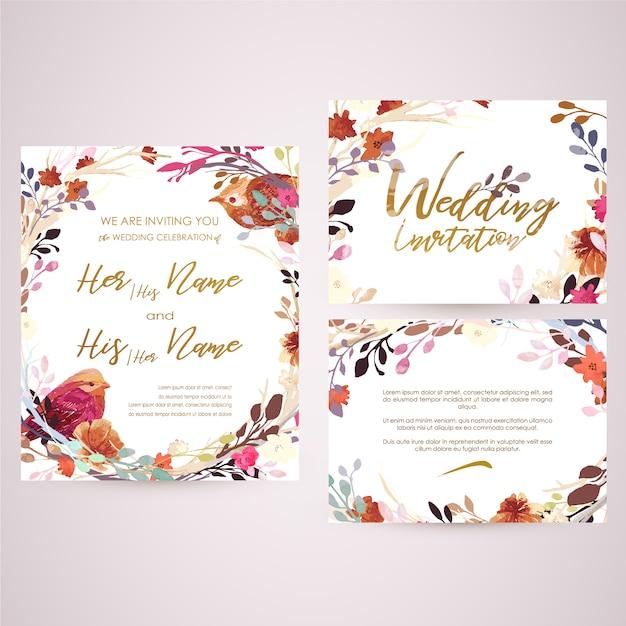 floral wedding card vector  premium download