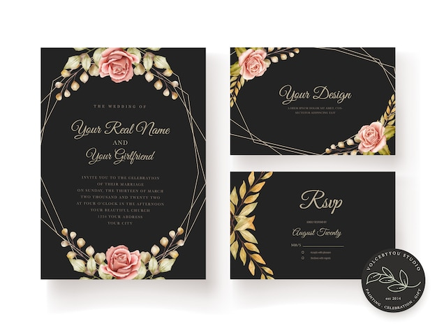 Floral wedding card Free Vector
