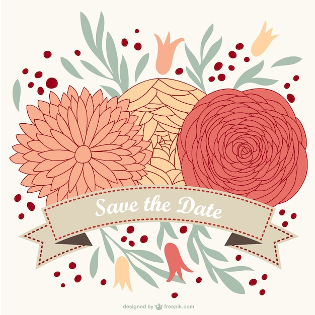 Wedding Flowers Vector Free Download : Floral wedding card vector free download