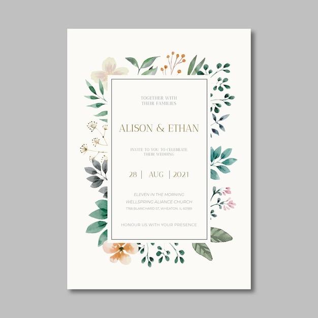 Floral wedding card Free Vector