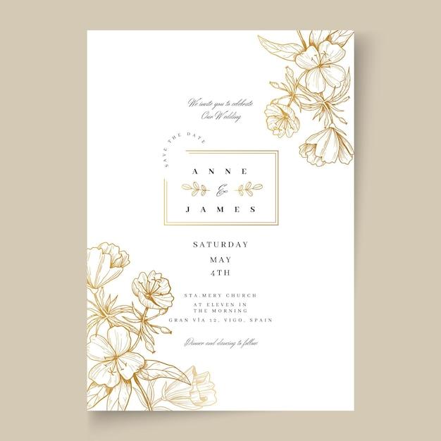 꽃 웨딩 카드 프리미엄 벡터
