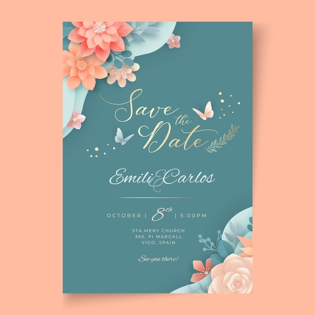 꽃 웨딩 카드 무료 벡터