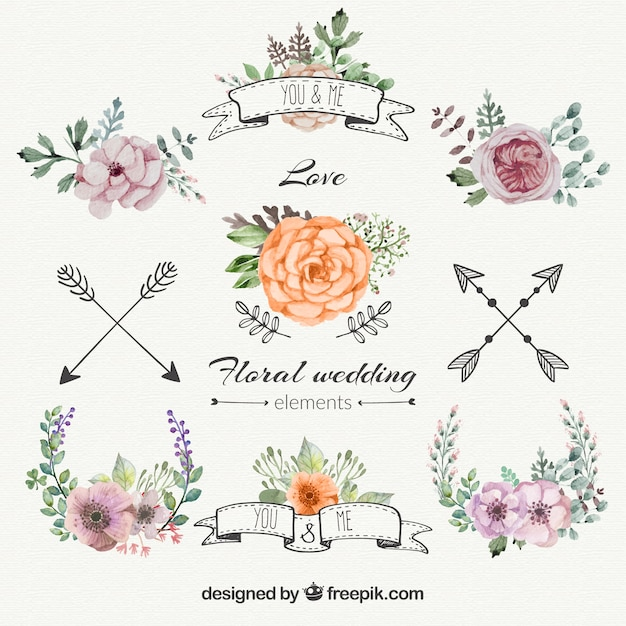 Wedding Flowers Vector Free Download : Floral wedding decorations set vector free download