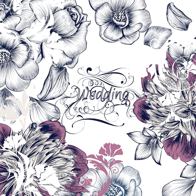Floral wedding design Premium Vector