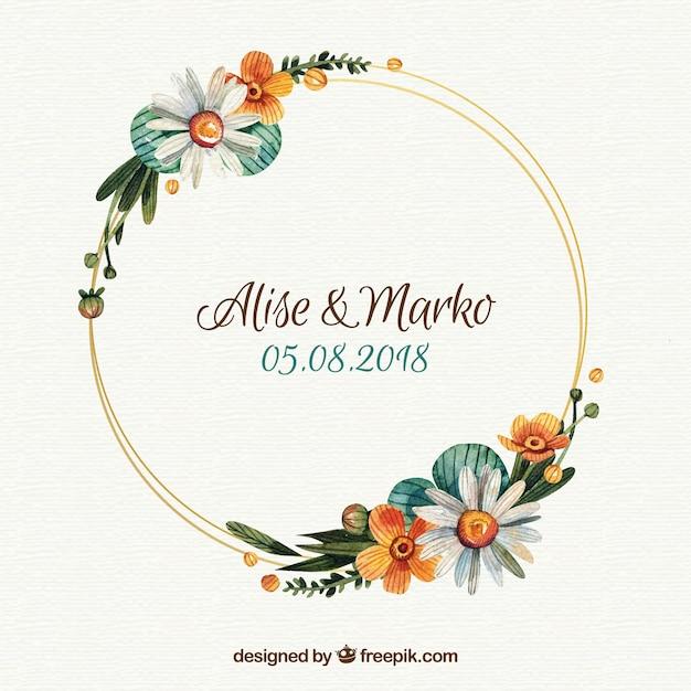 Floral Wedding Frame Template Vector