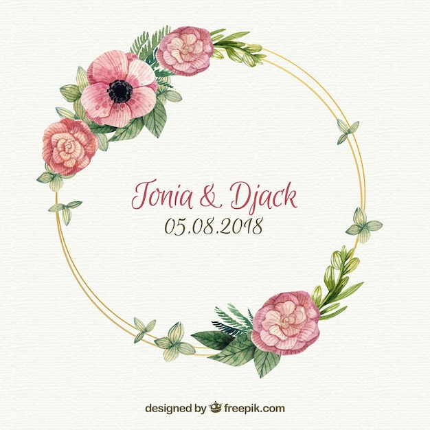 Floral wedding frame template Free Vector