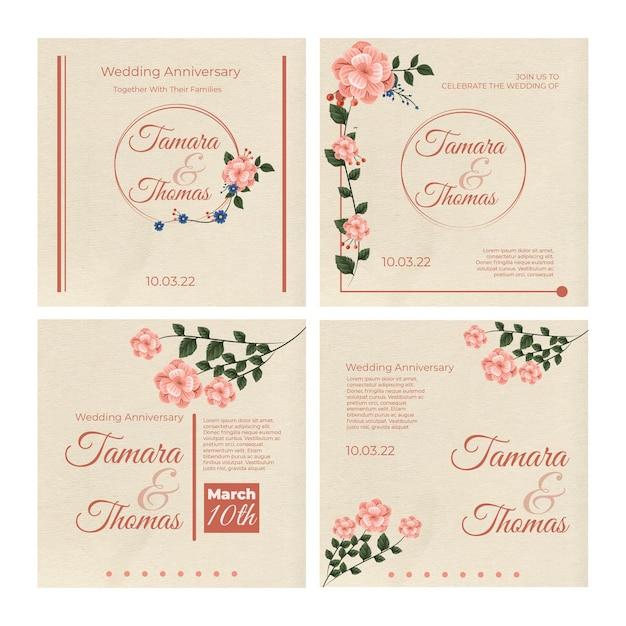 花の結婚式instagramポストコレクション 無料ベクター