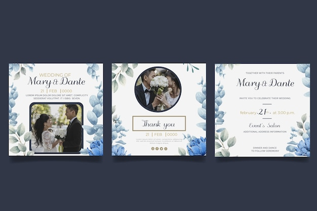 花の結婚式のinstagramの投稿セット 無料ベクター