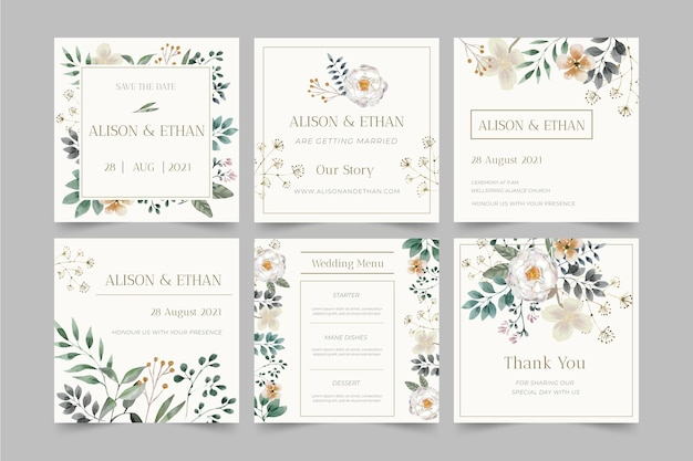 Floral wedding instagram posts Free Vector
