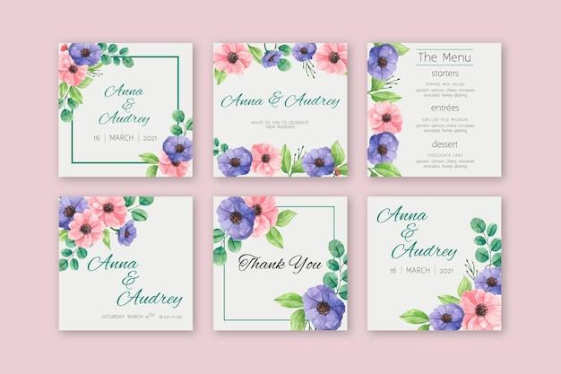 花の結婚式のinstagramの投稿 無料ベクター