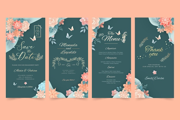 Floral wedding instagram stories pack Free Vector