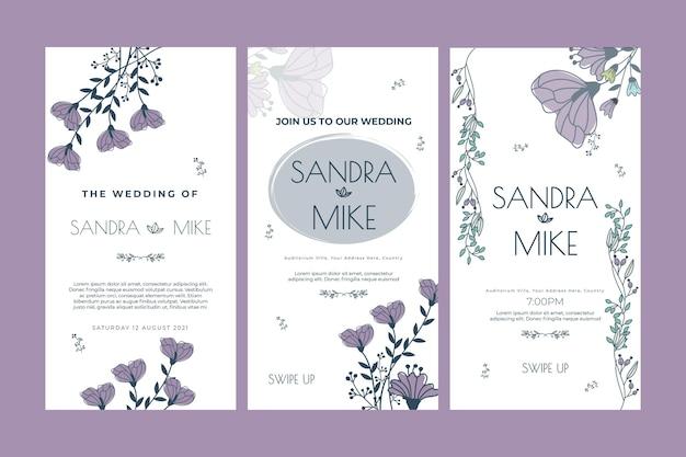 Шаблон истории цветочные свадебные instagram Premium векторы