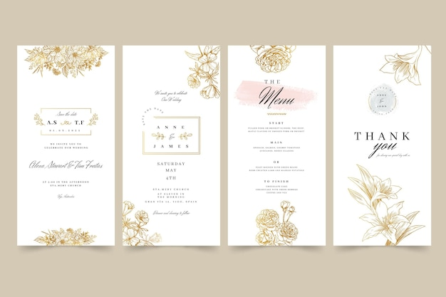 Floral wedding instagram stories Premium Vector