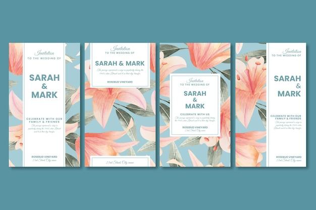 花の結婚式のinstagramの物語 無料ベクター