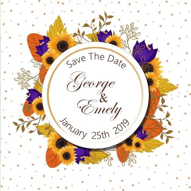 Цветочный знак приглашения на свадьбу Premium векторы