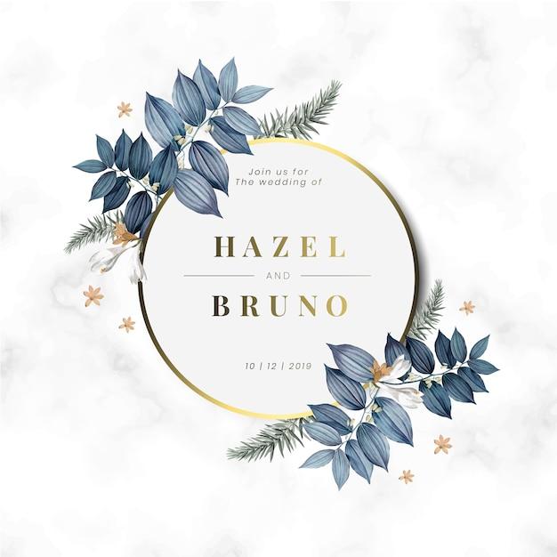 꽃 결혼식 초대 카드 디자인 벡터 무료 벡터