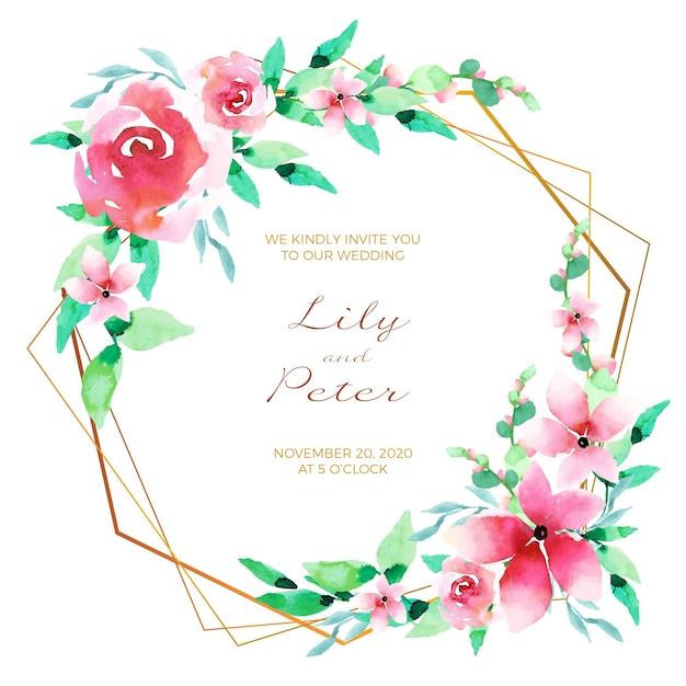 Cornice di carta floreale invito a nozze Vettore gratuito