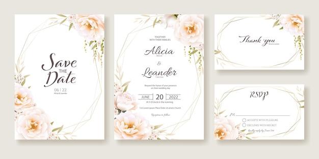 꽃 결혼식 초대 카드, 날짜를 저장, 감사합니다, Rsvp 템플릿. 프리미엄 벡터