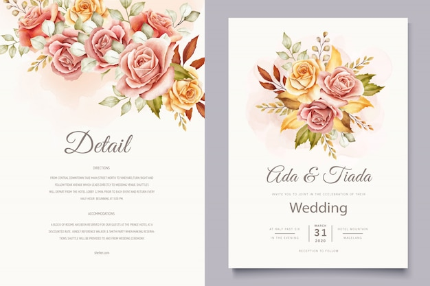 Floral wedding invitation card set Free Vector