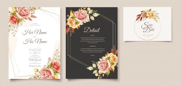 花の結婚式の招待カードセット Premiumベクター