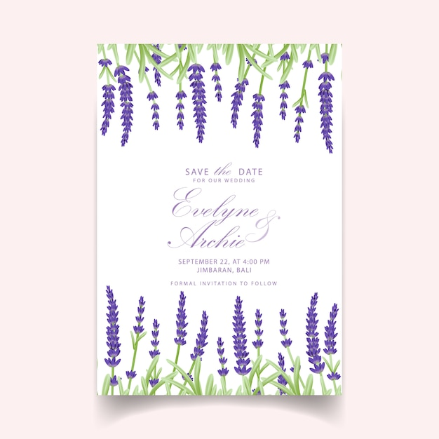 Floral wedding invitation card template design with lavender flowers. Premium Vector
