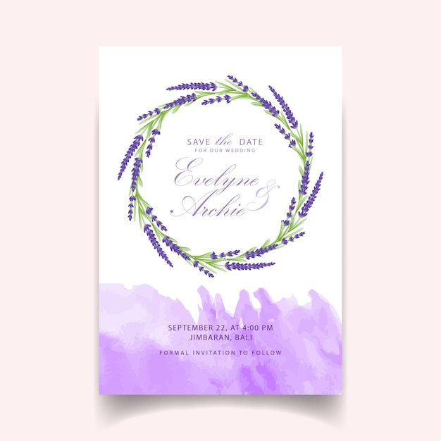 Floral Wedding Invitation Card Template Design With Lavender Flowers