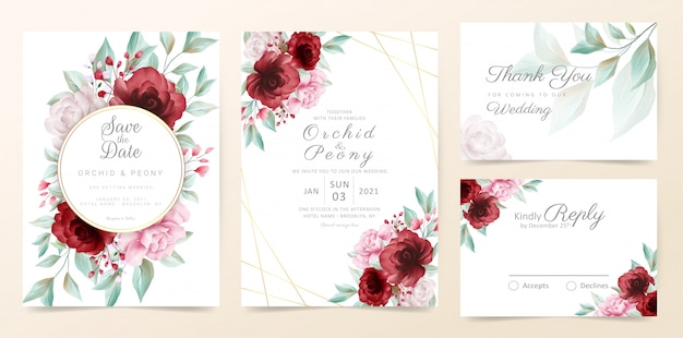 Floral wedding invitation card template set with watercolor flowers and golden decoration Premium Vector