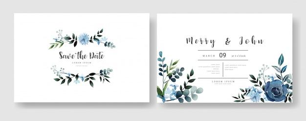 Floral wedding invitation card template watercolor style Premium Vector