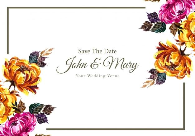 꽃 결혼식 초대 카드 템플릿 무료 벡터
