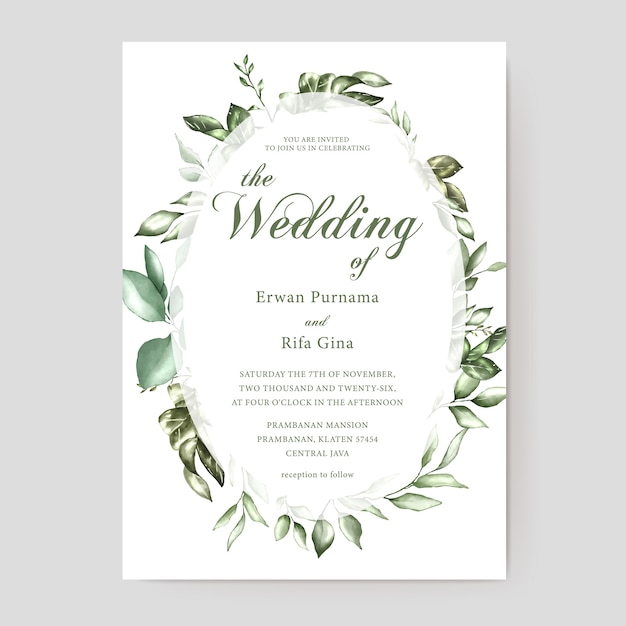Floral wedding invitation card template Premium Vector