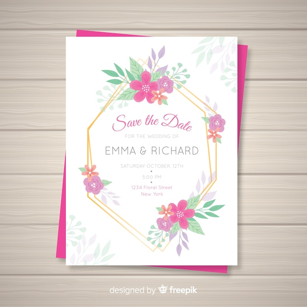 Floral Wedding Invitation Card Template Vector Free Download