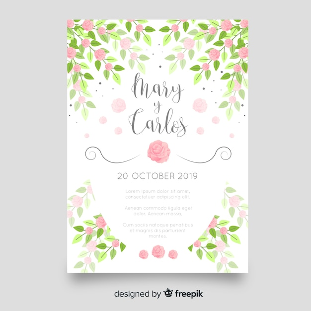 Wedding Invitation Card Template Free Download: Floral Wedding Invitation Card Template Vector