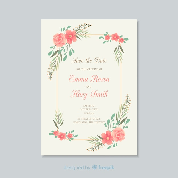 modele carte invitation gratuite Floral wedding invitation card template | Free Vector
